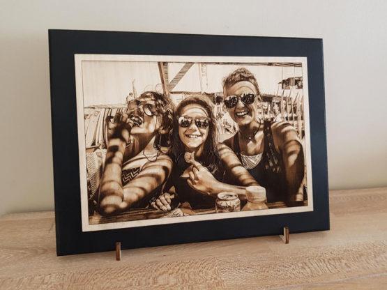 gravure photo sur bois famille