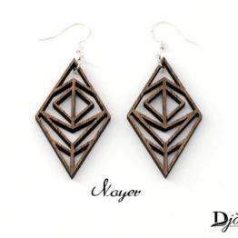 boucles d'oreilles bois geometrique minimaliste foncée