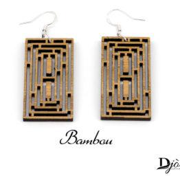 Boucles d'oreilles bois bambou Maze