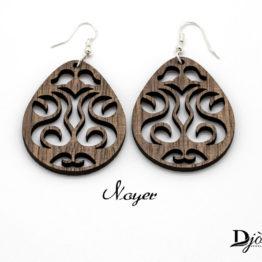 boucles d'oreilles bois maori foncée