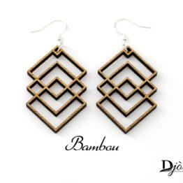 Boucles d'oreilles minimaliste losange bambou
