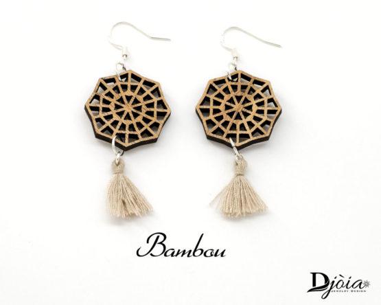 boucles d'oreilles avec pompons bambou