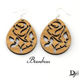 Boucles d'oreilles en bois fleur rose claire