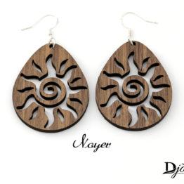 Boucles d'oreilles en bois soleil Noyer