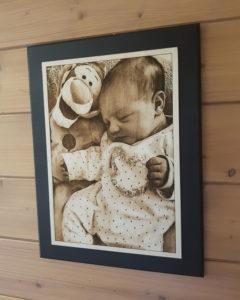 cadeau photo naissance en bois