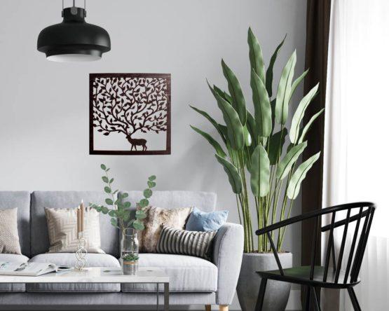 Tableau cerf arbre feuille