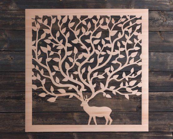 decoration murale cerf arbre en bois