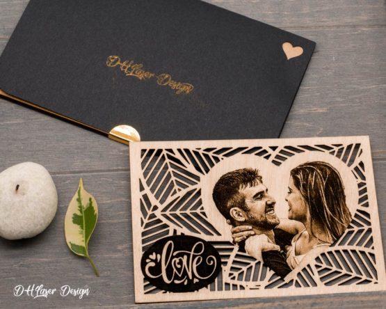 carte et etui cadeau photo sur bois