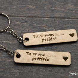 Porte clé en bois tu es mon/ma