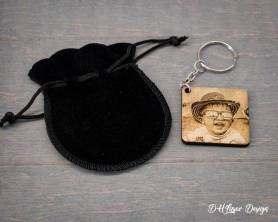 pochette et porte clé photo carre