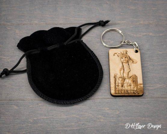 pochette et porte clé photo rectangle
