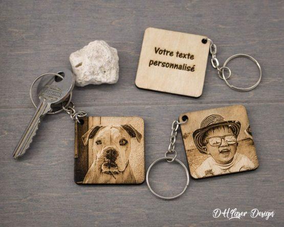 Porte clé bois photo texte carré 1