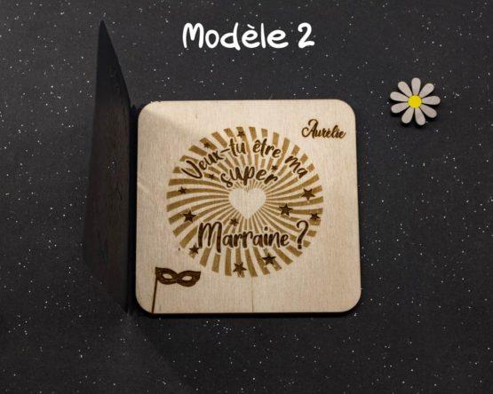 carte gravée marraine modèle 2