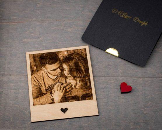 Gravure photo sur bois couple
